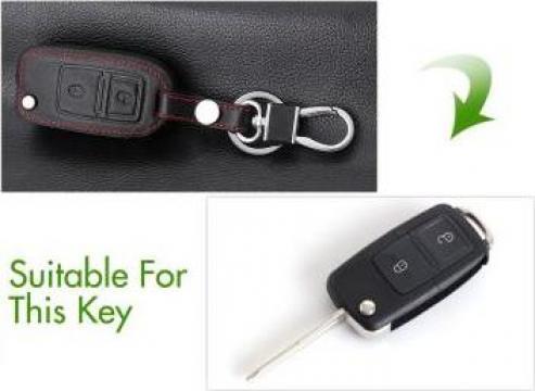 Husa piele cheie 2 butoane VW Amarok, Bora, Caddy, Golf