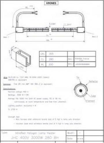 Lampa infrarosu Toshiba JHC 400V 3000W 280 BH