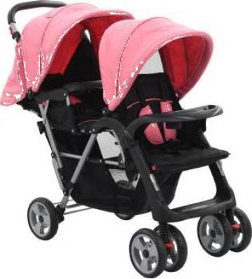 Carucior tandem pentru copii, roz si negru, otel