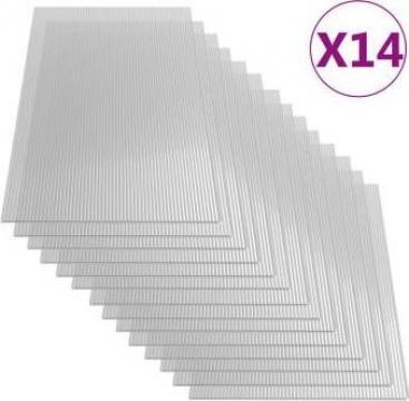 Placi din policarbonat, 14 buc., 121 x 60 cm, 4 mm