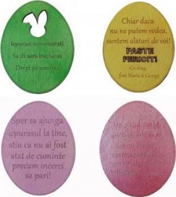 Decoratiune Un gand de Paste, ou lemn colorat, mesaj persona