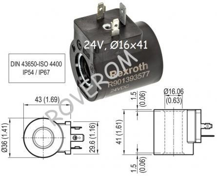 Bobina 24V, D16x41mm, electrovalva hidraulica
