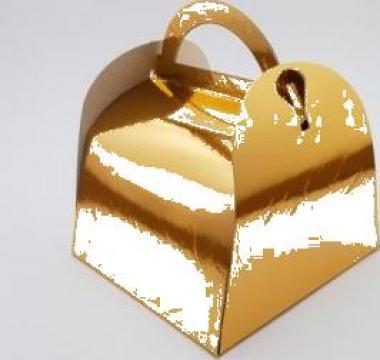 Cutie aurie prajituri 17x17x12,5cm 25 buc/set de la Cristian Food Industry Srl.