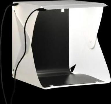 Cort foto cu LED-uri pliabil, alb, 23 x 25 x 25 cm