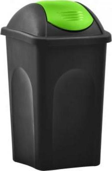 Cos de gunoi cu capac oscilant, negru si verde, 60litri de la Vidaxl