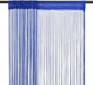 Draperii cu franjuri, 2 buc., 140 x 250 cm, albastru de la Vidaxl