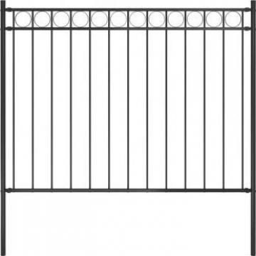 Gard de gradina, negru, 1,7 x 1 m, otel de la Vidaxl