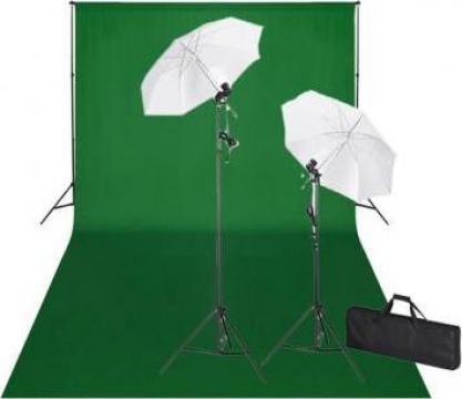 Kit studio foto, fundal verde, 600 x 300 & lumini