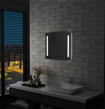Oglinda de perete de baie cu LED, 60 x 50 cm