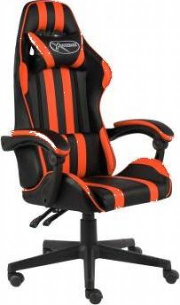 Scaun de racing, negru si portocaliu, piele ecologica