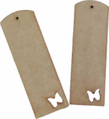 Baza lemn semn de carte cu fluture, set 2 bucati,15x5 cm