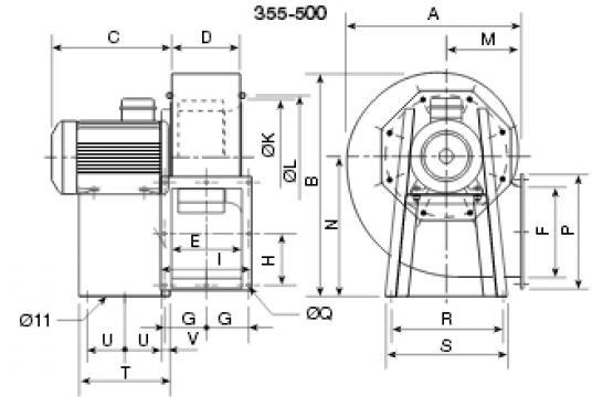 Ventilator centrifugal 400 grd CHMT/4- 500/205-11 de la Ventdepot Srl