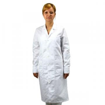 Halat lung femei, material textil, alb, laborator (1 buc)