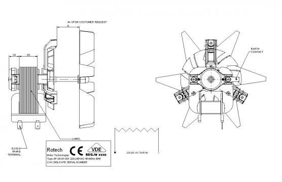 Motor ventilator pentru cuptor Rotech SP-25-AF-001, 38W