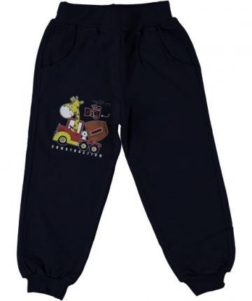 Pantaloni trening baieti, Girafa, bumbac, negru