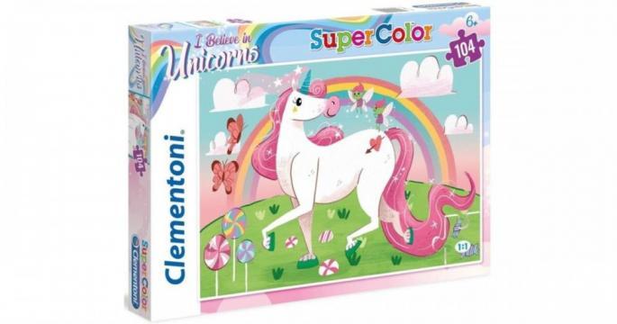 Puzzle Clementoni de 104 piese - Eu cred in unicorni de la Pepita.ro