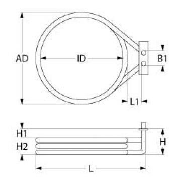 Rezistenta 2500W, 230V, 1 circuit incalzire, DI 176mm