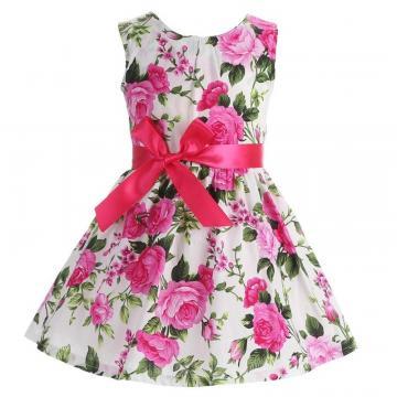 Rochita subtire de vara, bumbac, alb cu trandafiri roz