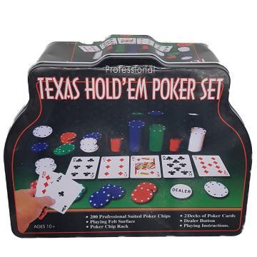 Set poker Texas Holden negru 200 jetoane, 2 carti, covoras