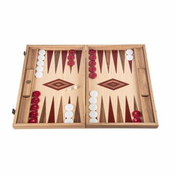 Set joc table / backgammon Walnut si Stejar insertii rosii de la Chess Events Srl