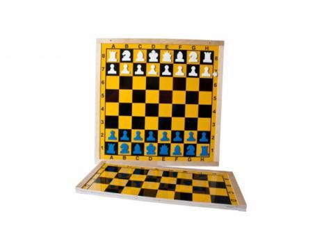Tabla sah de demonstratie magnetica-pliabila cadru lemn 90mm de la Chess Events Srl