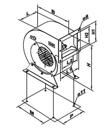 Ventilator centrifugal VCUN 225x103-2.2-2