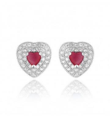 Cercei din argint Red Diamond Heart