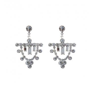 Cercei eleganti cu cristale Swarovski placati cu rodiu