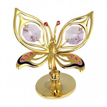 Figurina fluturas cu cristale Swarovski roz si violet