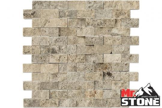 Travertin Mozaic Silver split face 2,3 x 4,8cm de la Antique Stone Srl