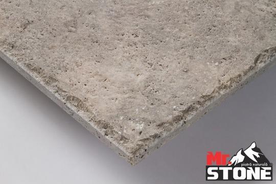 Travertin Silver periat cu laturi cioplite 40,6 x 61cm de la Antique Stone Srl
