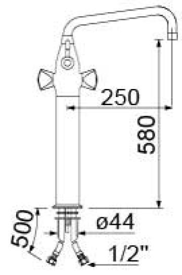 Baterie cu doi robineti si alimentare comuna 545529