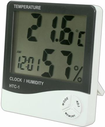 Ceas HTC-1 cu termometru si higrometru de la Www.oferteshop.ro - Cadouri Online