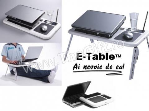 Masa laptop cu coolere, suport pahar si mouse pad E Table de la Thegift.ro - Cadouri Online