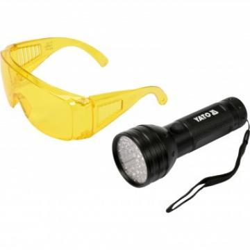 Kit lanterna LED UV + ochelari, Yato YT-08581