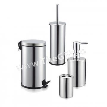 Set 4 accesorii metalice, pentru baie