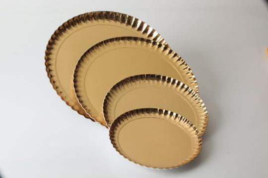 Farfurii groase carton auriu 34cm de la Cristian Food Industry Srl.