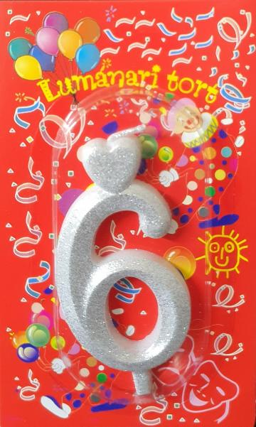 Lumanari tort argintii cifra 6 20 buc/cutie de la Cristian Food Industry Srl.