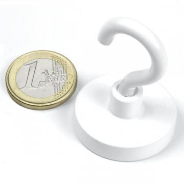 Magnet neodim oala 32,3 mm, cu carlig alb, putere 28 kg de la Arca Hobber Srl