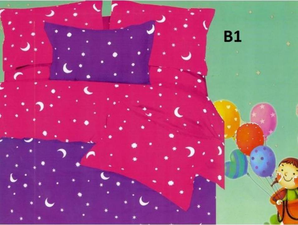 Lenjerie de pat din bumbac cu luna si stele