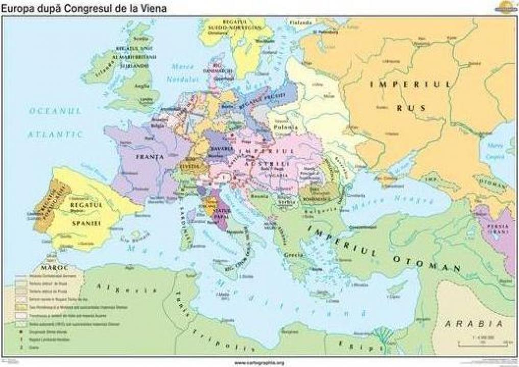 Harta murala Europa dupa Congresul de la Viena