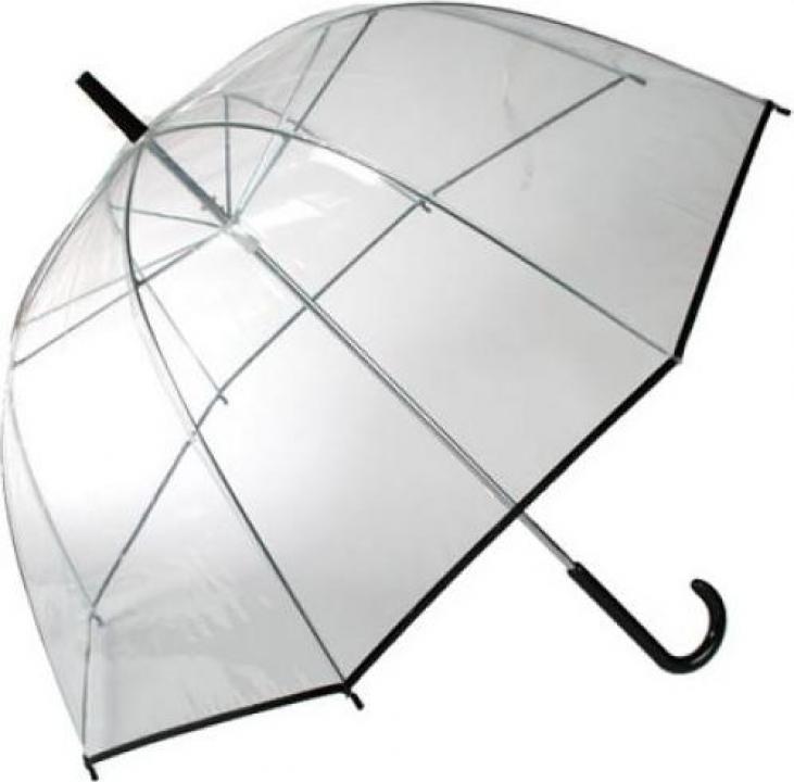 Umbrela transparenta in forma de clopot