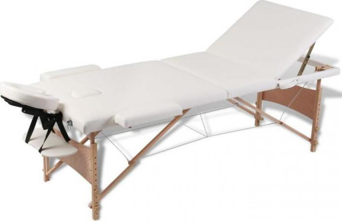 Masa de masaj pliabila 3 parti cadru din lemn Crem