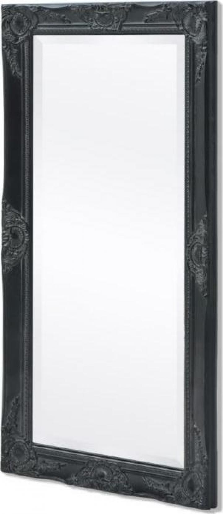 Oglinda de perete baroc, 100 x 50 cm, negru