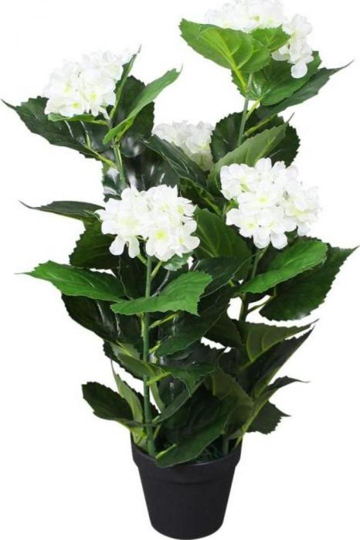 Planta artificiala Hydrangea cu ghiveci, 60 cm, alb