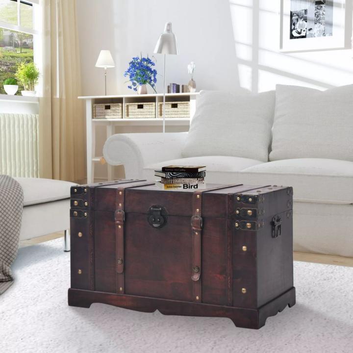 Cufar vintage din lemn, 66 x 38 x 40 cm
