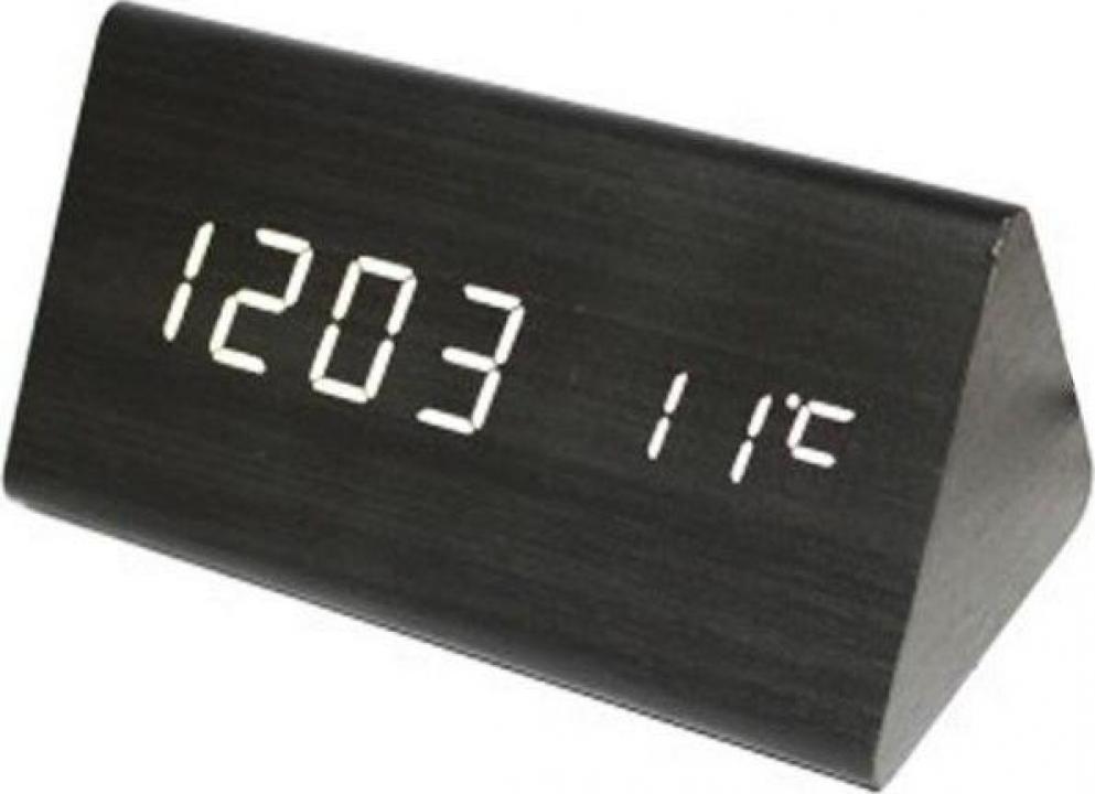 Ceas digital de birou aspect lemn