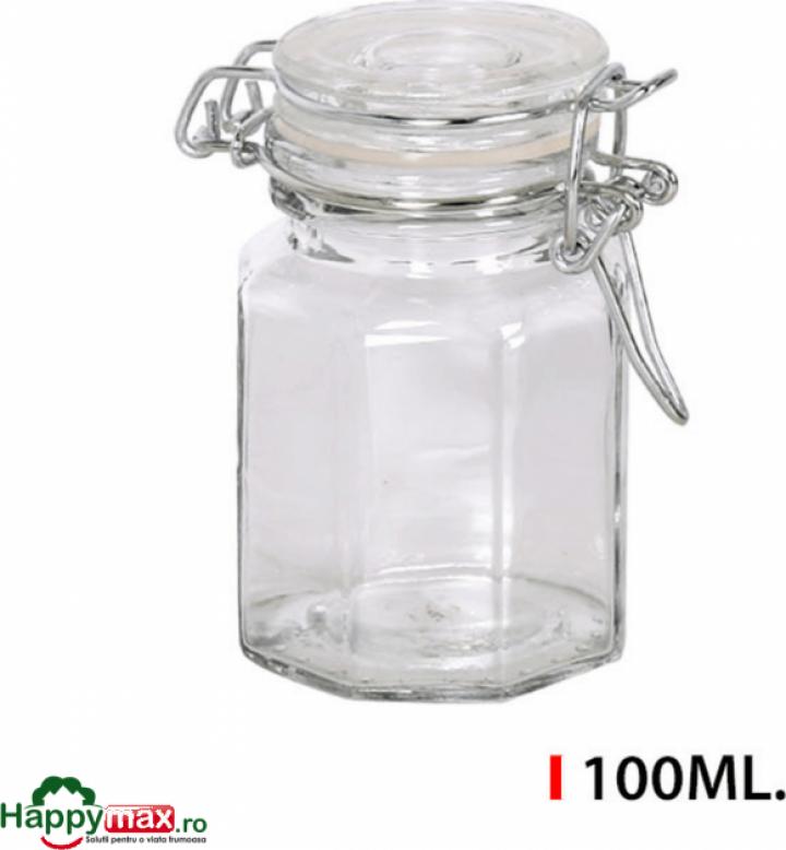 Borcan sticla capac ermetic 100 ml, Mediterranea