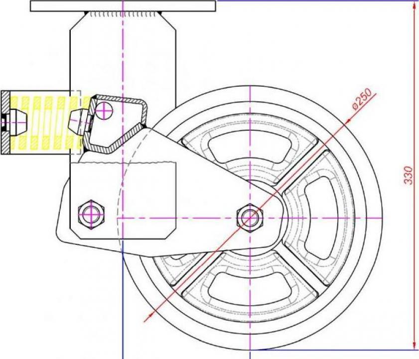 Roata pivotanta cu arcuri, 250x60 mm, cauciuc elastic