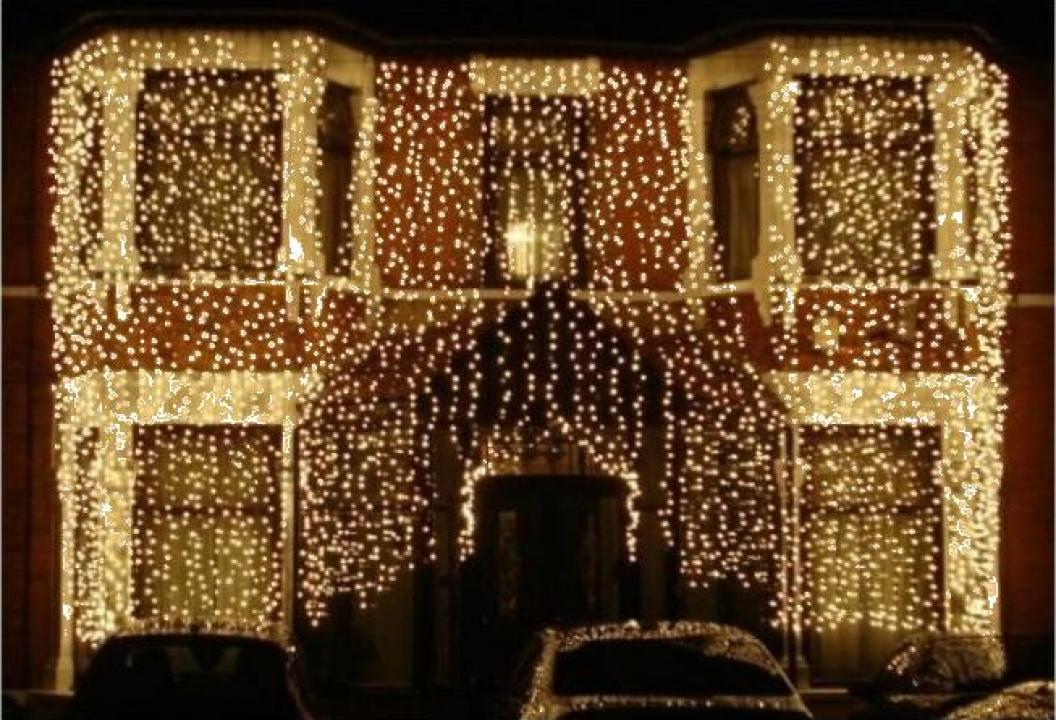 Instalatii de Craciun exterior perdea luminoasa 2x2m 320 LED
